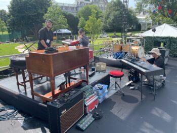 Hammond B3, Vox AC30, Kemper Profiler, Yamaha XF8, Aguilar SL112's, Gretsch Brooklyn kit at The White House